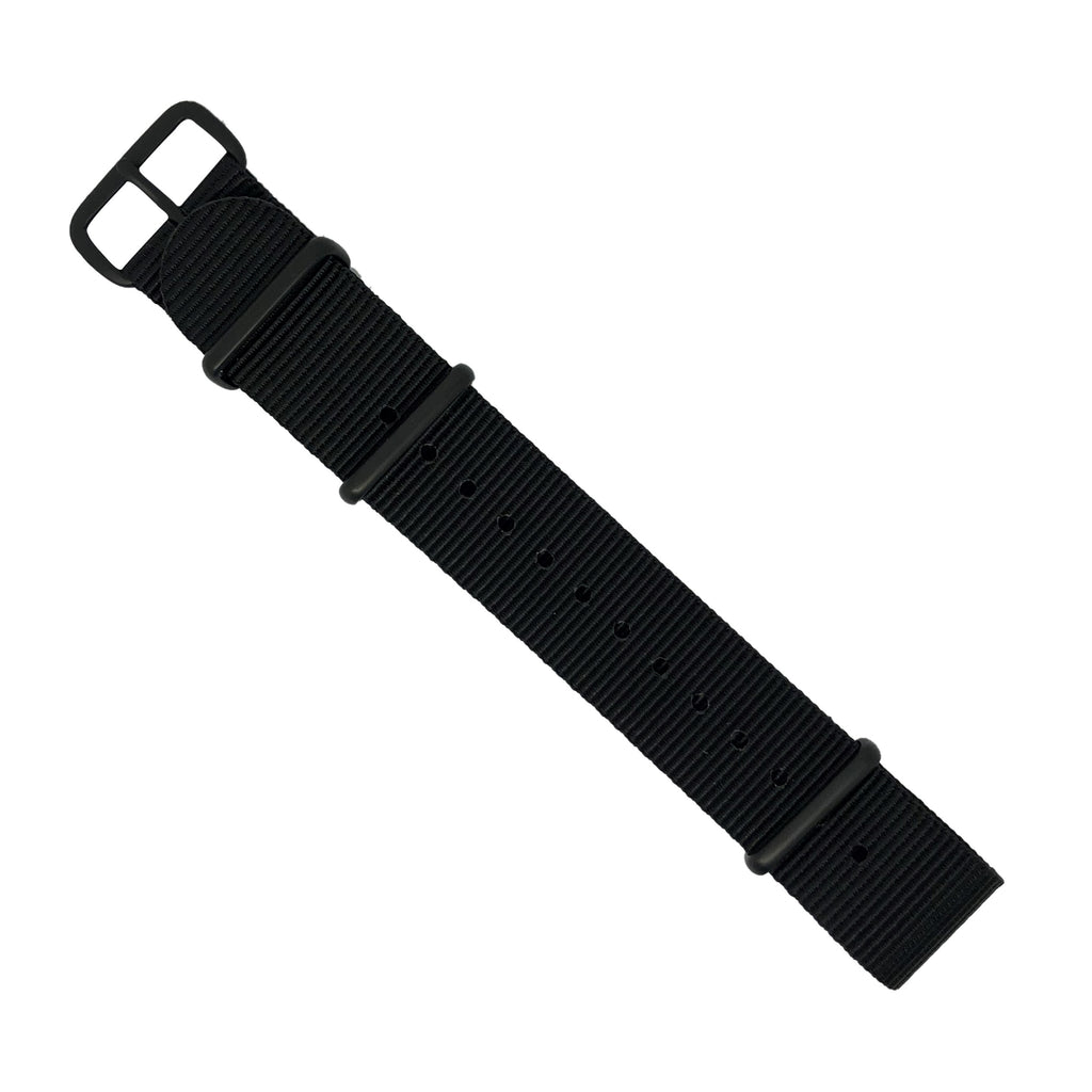 Premium Nato Strap in Black with PVD Black Buckle (18mm) - Nomad watch Works
