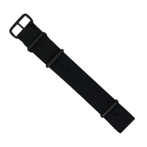 Premium Nato Strap in Black with PVD Black Buckle (20mm) - Nomad watch Works