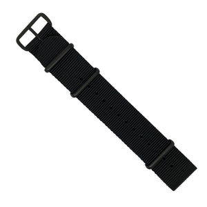 Premium Nato Strap in Black with PVD Black Buckle (22mm) - Nomad watch Works