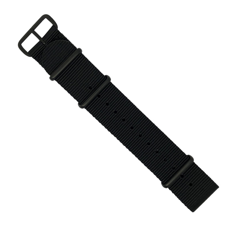 Premium Nato Strap in Black with PVD Black Buckle (24mm) - Nomad watch Works