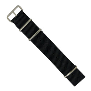 Premium Nato Strap in Black with Polished Silver Buckle (22mm) - Nomad watch Works