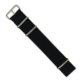 Premium Nato Strap in Black with Polished Silver Buckle (24mm)