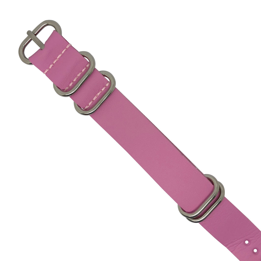 PU Leather Zulu Strap in Pink with Silver Buckle (24mm)