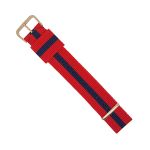 RAF Nato Strap in Red Navy with Rose Gold Buckle (18mm) - Nomad watch Works