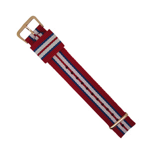 RAF Nato Strap in Red Navy White with Rose Gold Buckle (20mm) - Nomad watch Works