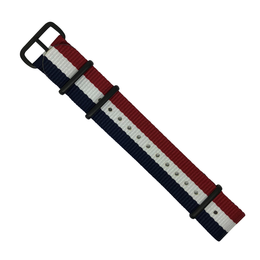 Premium Nato Strap in Navy White Red with PVD Black Buckle (18mm)