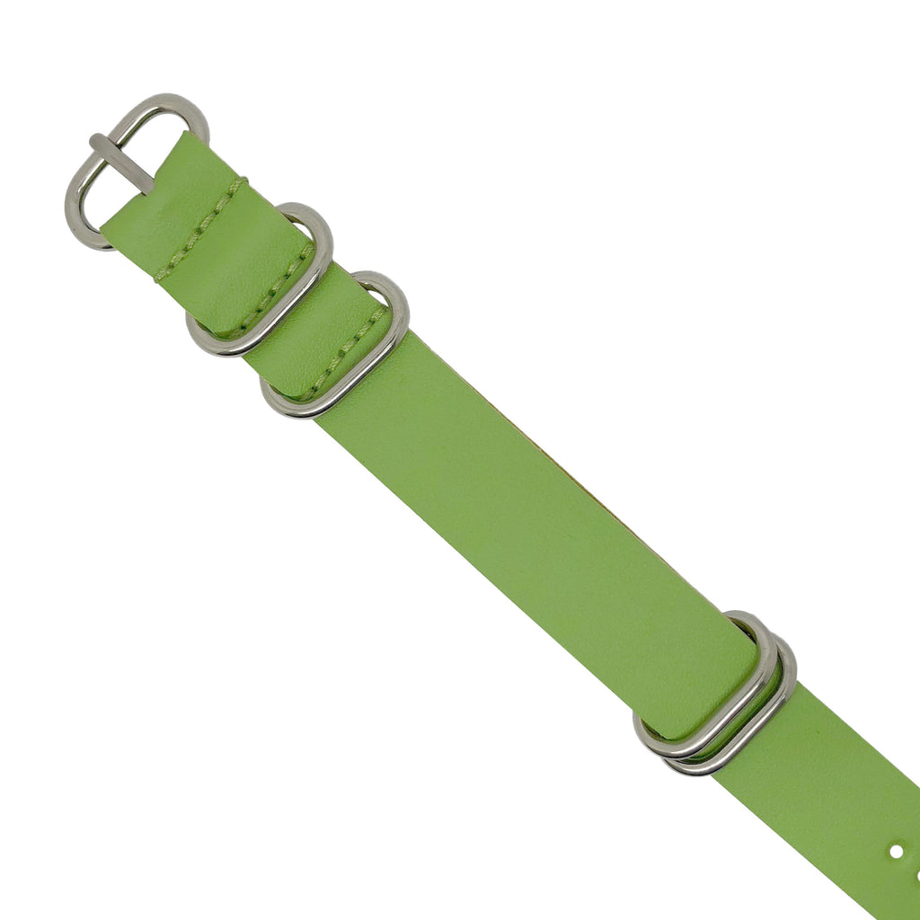 PU Leather Zulu Strap in Green with Silver Buckle (24mm)