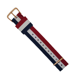 RAF Nato Strap in Navy White Red with Rose Gold Buckle (20mm) - Nomad watch Works