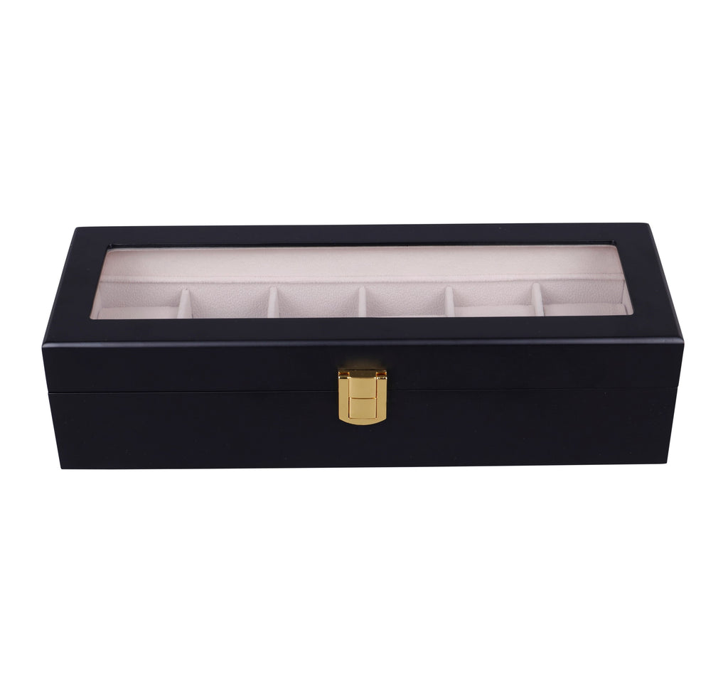 Wooden Watch Box in Black (6 Watch Slots) - Nomad watch Works
