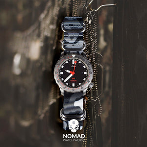 Heavy Duty Zulu Strap in Black Camo with PVD Black Buckle (22mm) - Nomad watch Works