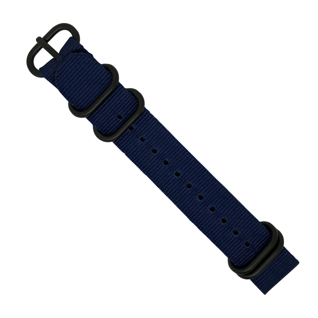 Nylon Zulu Strap in Navy with Black Buckle (24mm) - Nomad watch Works