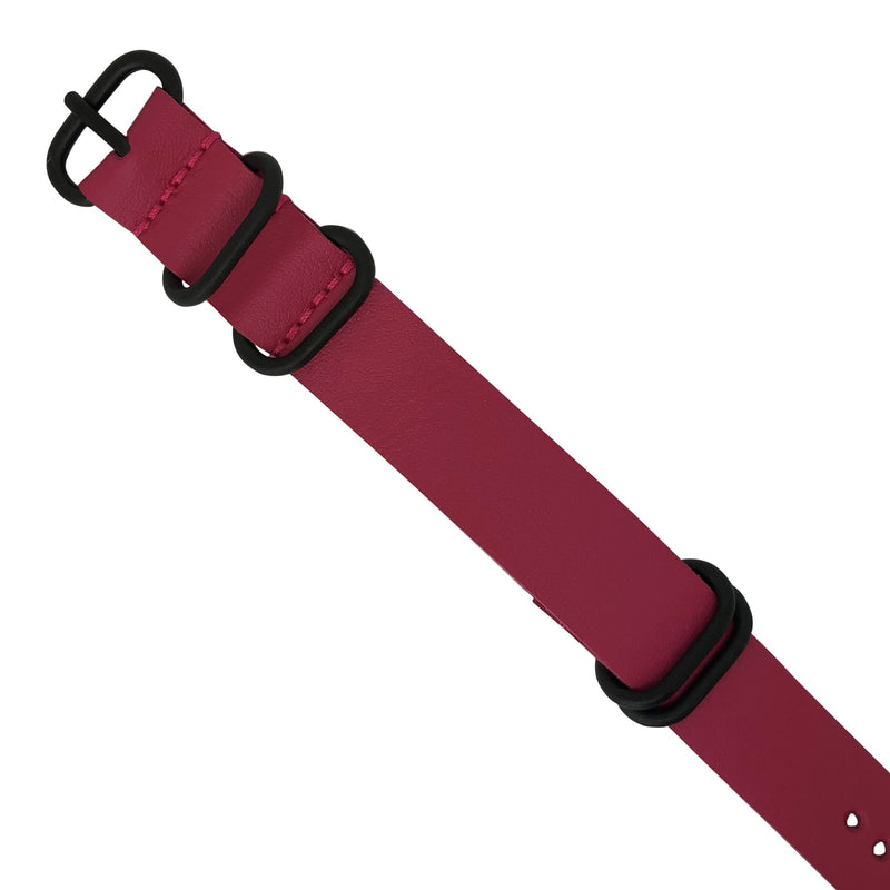 PU Leather Zulu Strap in Rose with Black Buckle (24mm) - Nomad watch Works