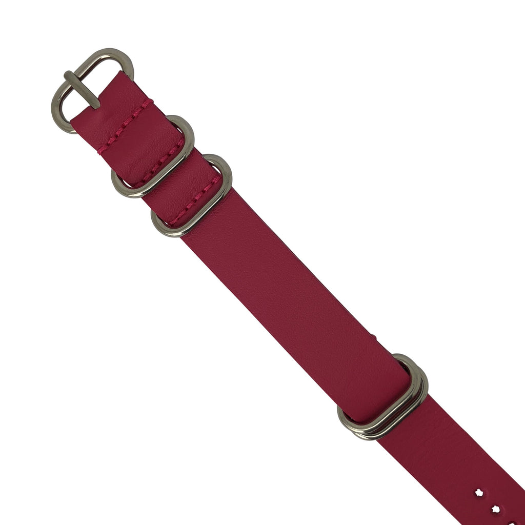 PU Leather Zulu Strap in Rose with Silver Buckle (22mm)