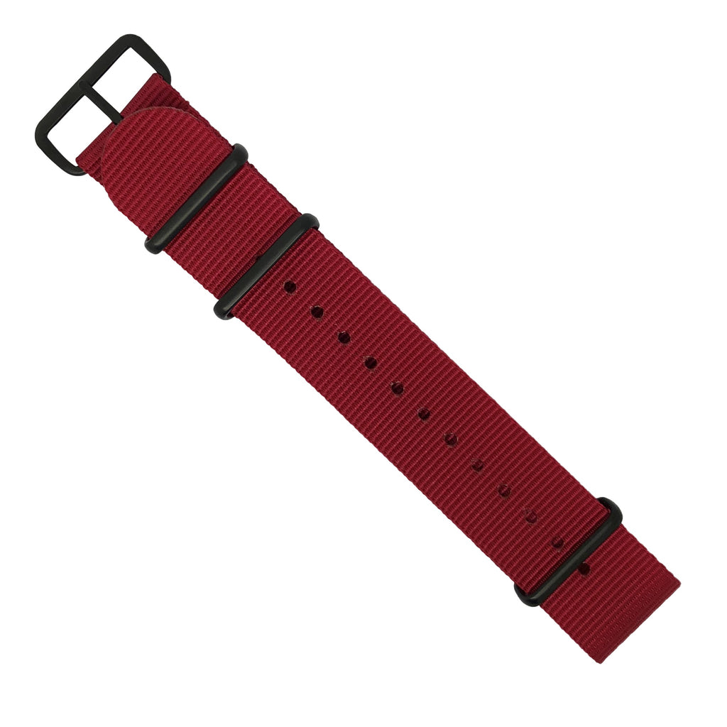 Premium Nato Strap in Red with PVD Black Buckle (22mm)