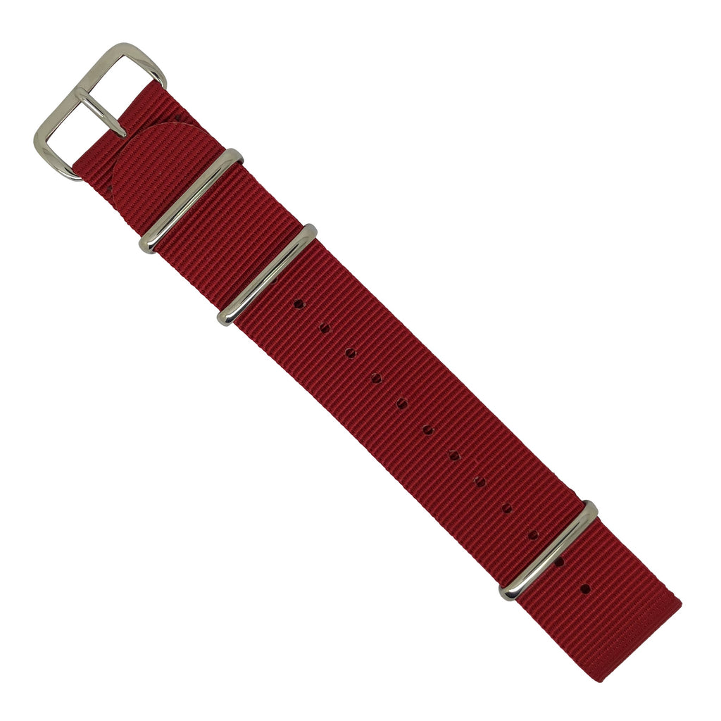Premium Nato Strap in Red with Polished Silver Buckle (24mm)