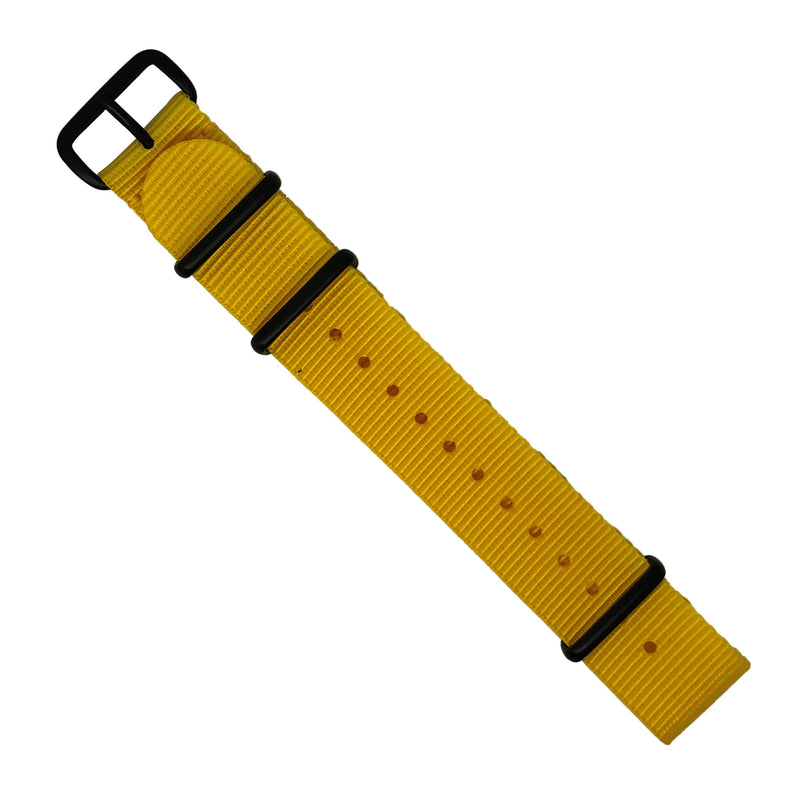 Premium Nato Strap in Yellow with PVD Black Buckle (20mm) - Nomad watch Works