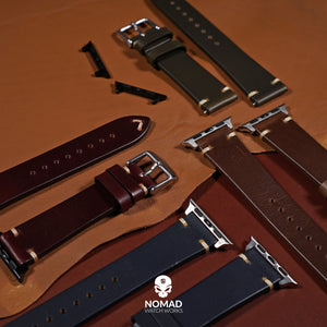 N2W Vintage Horween Leather Strap in Chromexcel® Burgundy (42 & 44mm) - Nomad watch Works