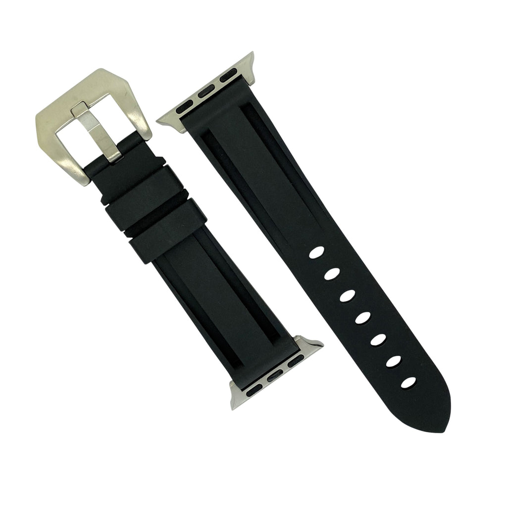 Apple Watch V3 Silicone Strap in Black w/ Silver Buckle (42 & 44mm) - Nomad watch Works