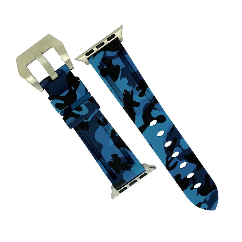 Apple Watch V3 Silicone Strap in Blue Camo w/ Silver Buckle (38 & 40mm) - Nomad watch Works