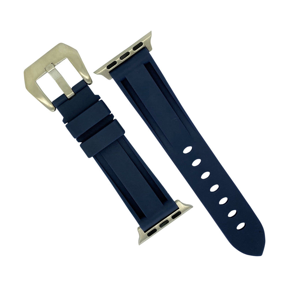 Apple Watch V3 Silicone Strap in Navy w/ Silver Buckle (42 & 44mm) - Nomad watch Works