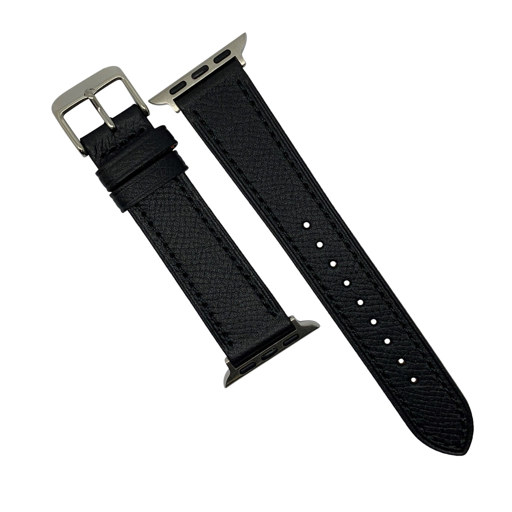 Emery Dress Epsom Leather Strap in Black w/ Silver Buckle (42 & 44mm) - Nomad watch Works