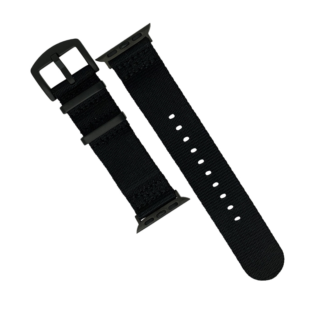 Apple Watch Seat Belt Nato Strap in Black with Black Buckle (42 & 44mm) - Nomad watch Works
