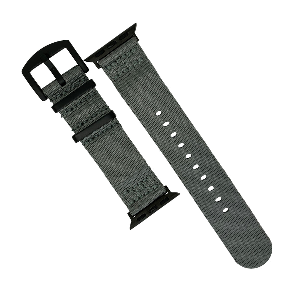 Apple Watch Seat Belt Nato Strap in Grey with Black Buckle (42 & 44mm) - Nomad watch Works