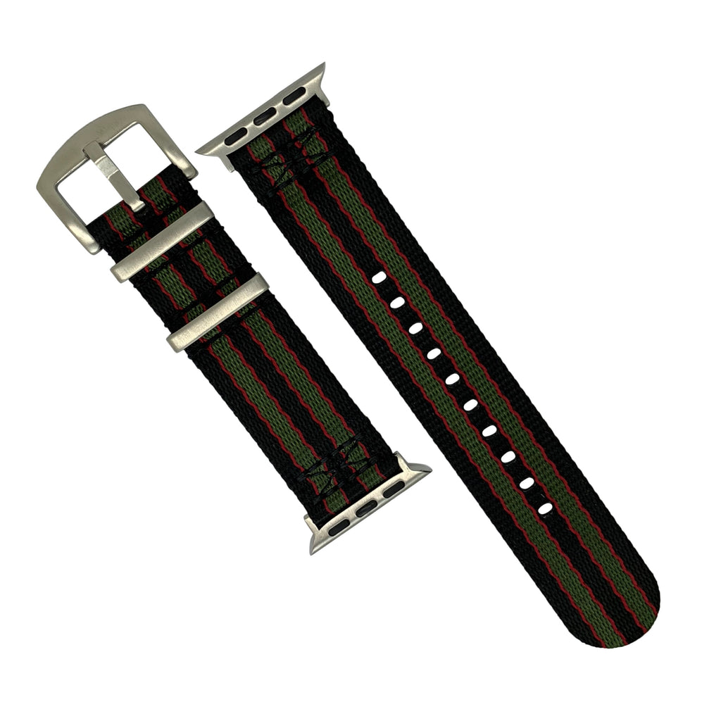Apple Watch Seat Belt Nato Strap in Black Green Red (James Bond) with Silver Buckle (42 & 44mm) - Nomad watch Works