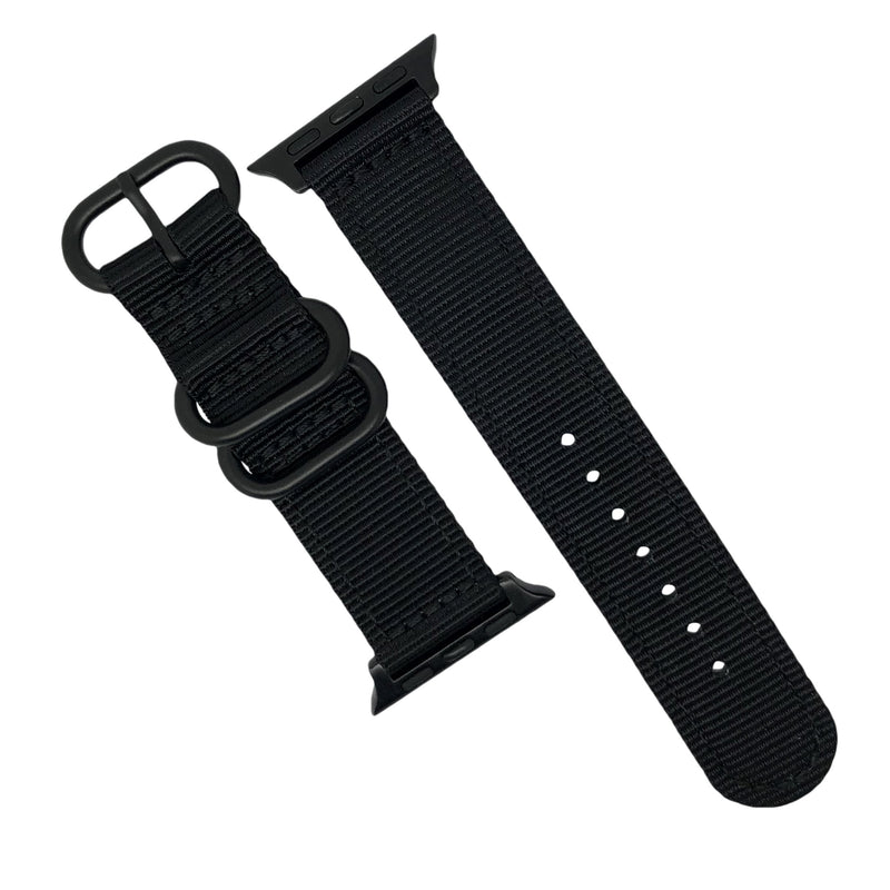 Apple Watch Nylon Zulu Strap in Black with Black Buckle (42 & 44mm) - Nomad watch Works