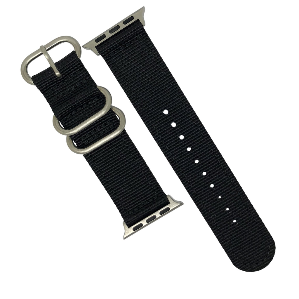 Apple Watch Nylon Zulu Strap in Black with Silver Buckle (42 & 44mm) - Nomad watch Works