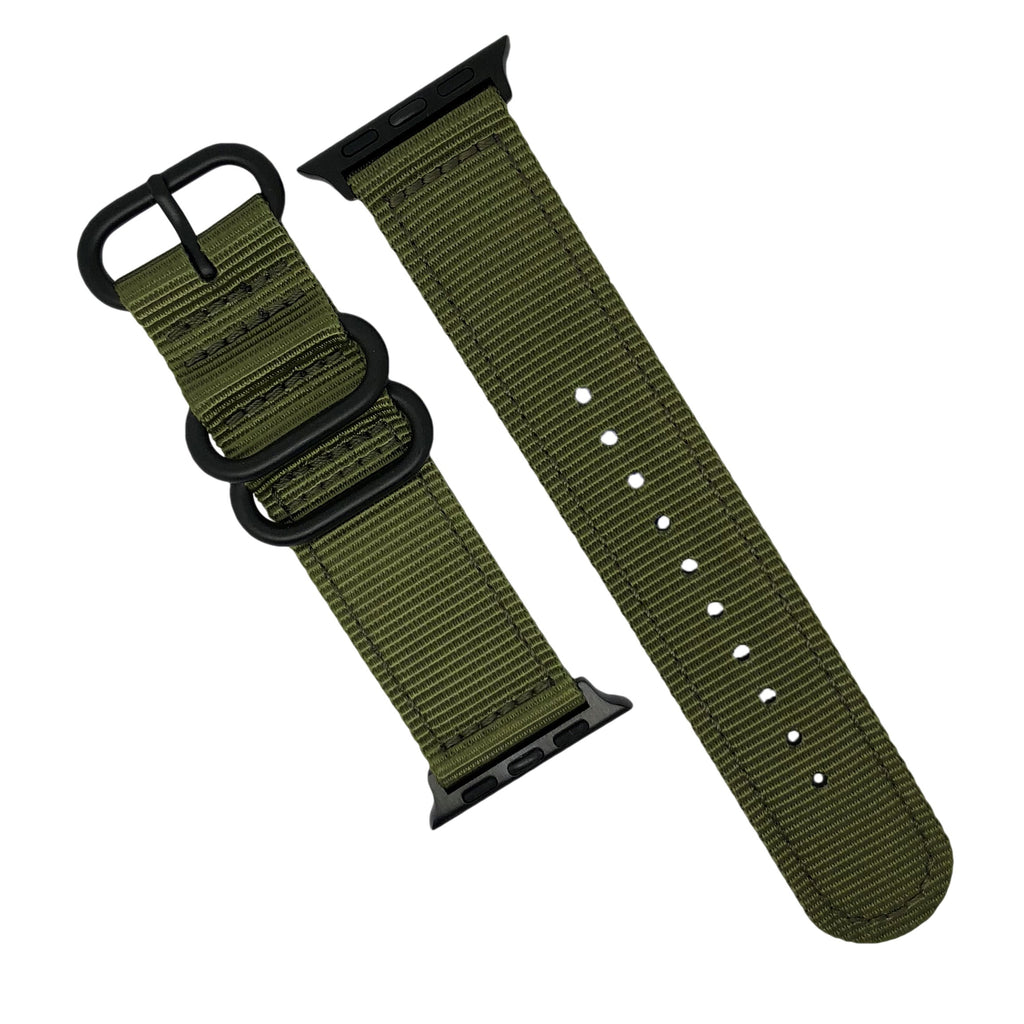 Apple Watch Nylon Zulu Strap in Olive with Black Buckle (38 & 40mm) - Nomad watch Works