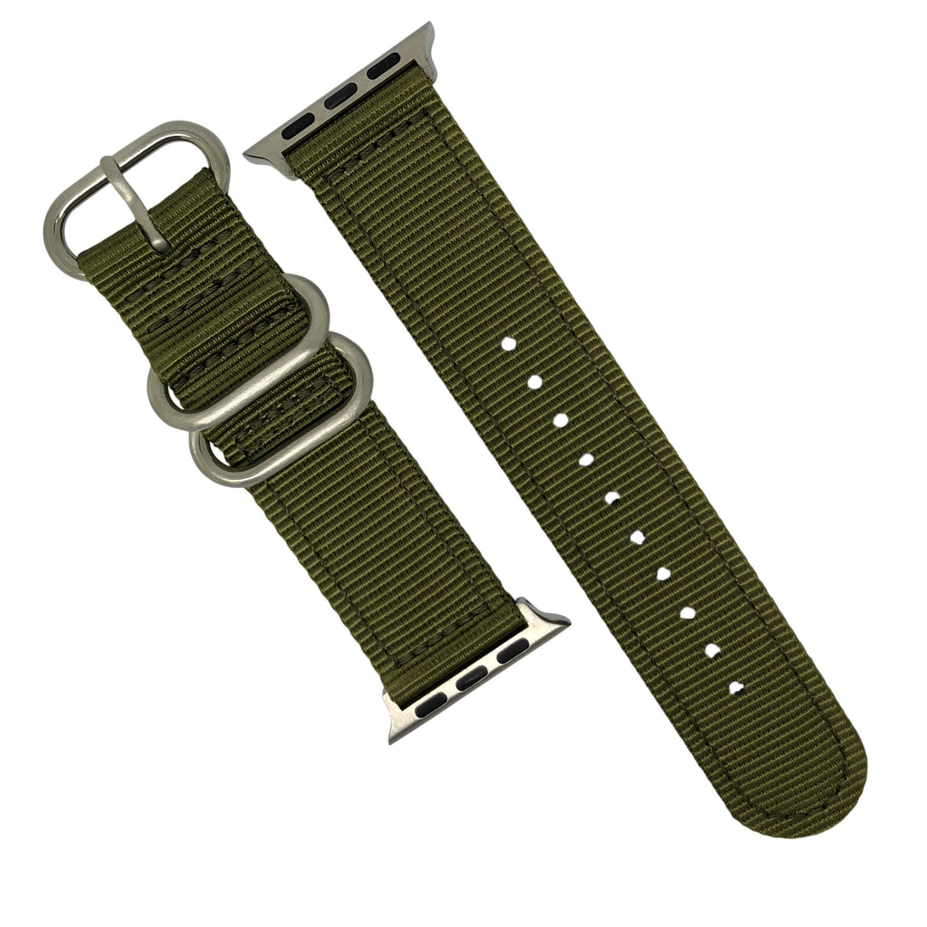 Apple Watch Nylon Zulu Strap in Olive with Silver Buckle (42 & 44mm) - Nomad watch Works