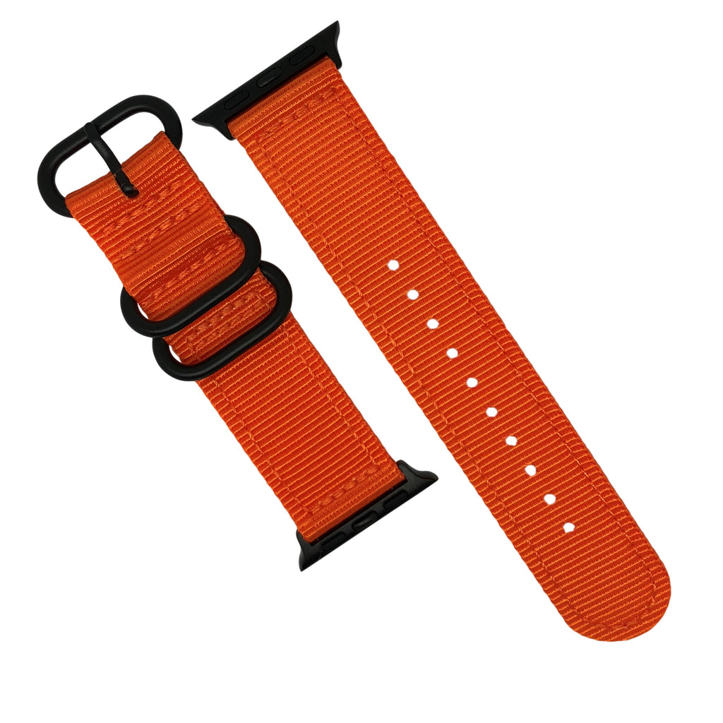 Apple Watch Nylon Zulu Strap in Orange with Black Buckle (42 & 44mm) - Nomad watch Works