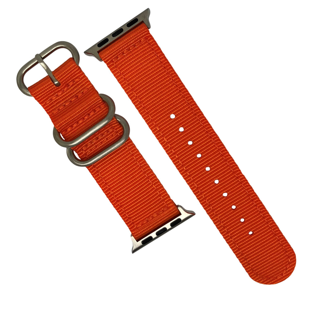Apple Watch Nylon Zulu Strap in Orange with Silver Buckle (42 & 44mm) - Nomad watch Works