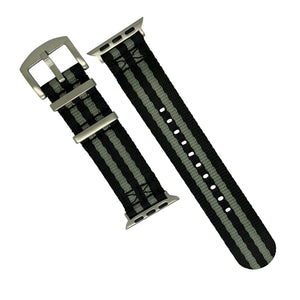 Apple Watch Seat Belt Nato Strap in Black Grey (James Bond) with Silver Buckle (38 & 40mm) - Nomad watch Works
