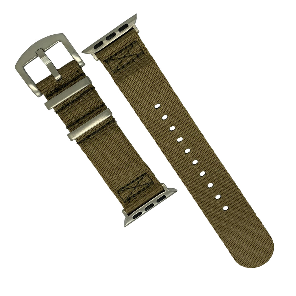 Apple Watch Seat Belt Nato Strap in Khaki with Silver Buckle (42 & 44mm) - Nomad watch Works