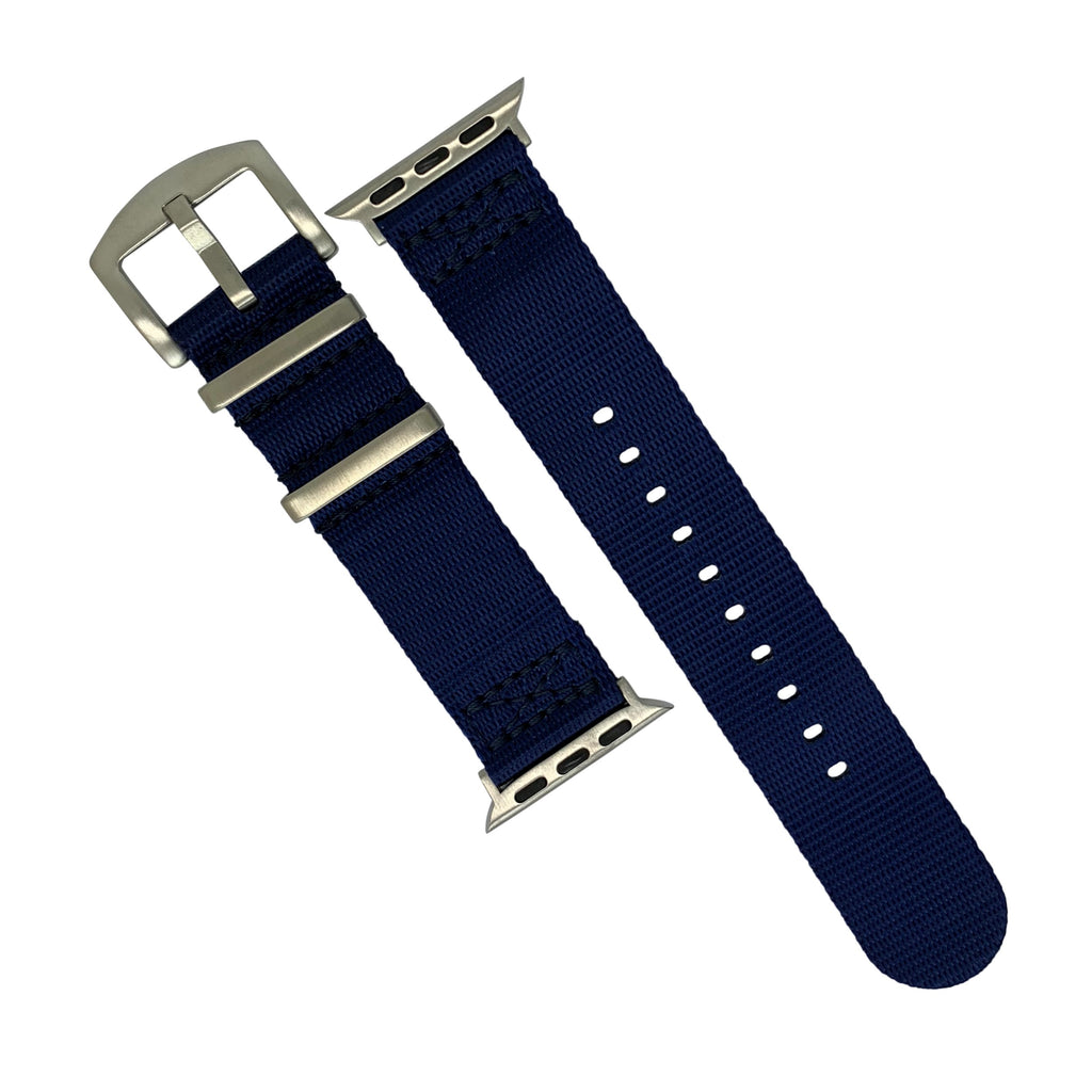 Apple Watch Seat Belt Nato Strap in Navy with Silver Buckle (38 & 40mm) - Nomad watch Works