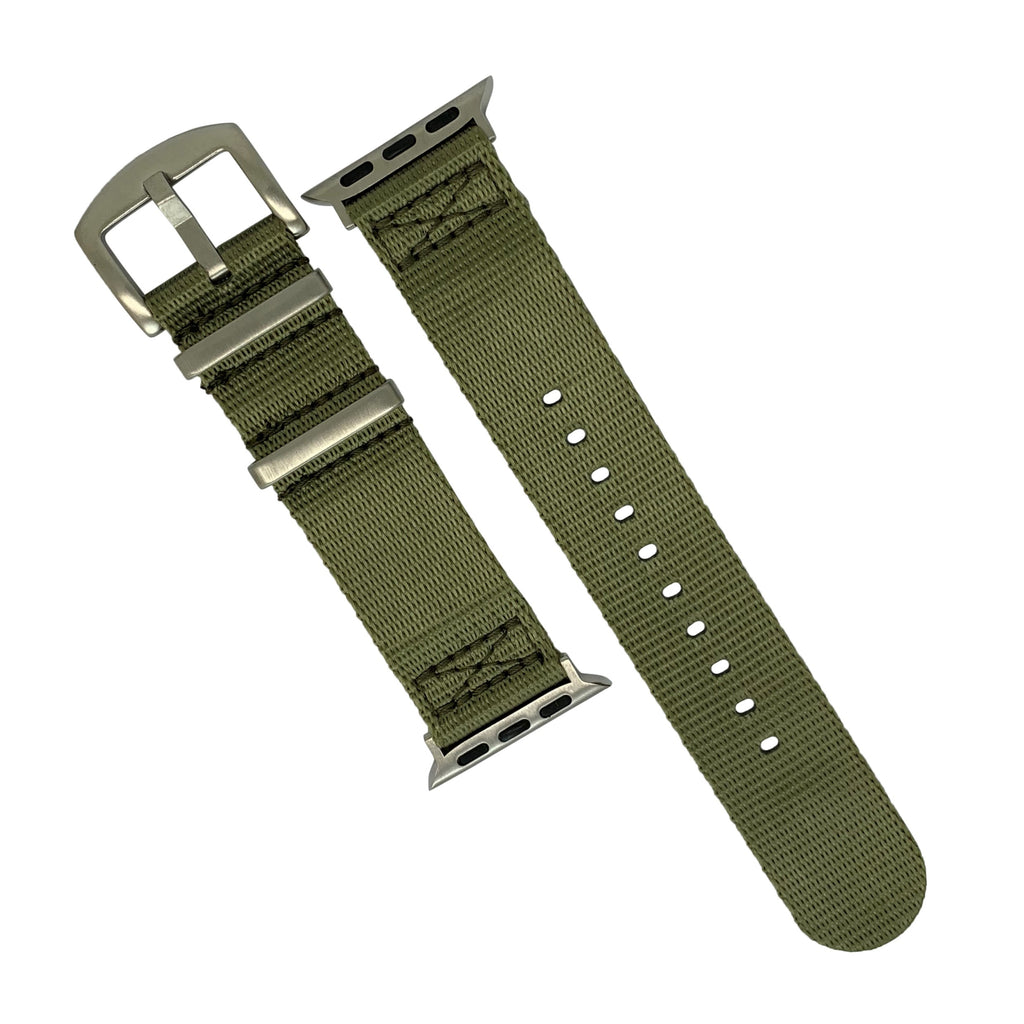 Apple Watch Seat Belt Nato Strap in Olive with Silver Buckle (38 & 40mm) - Nomad watch Works