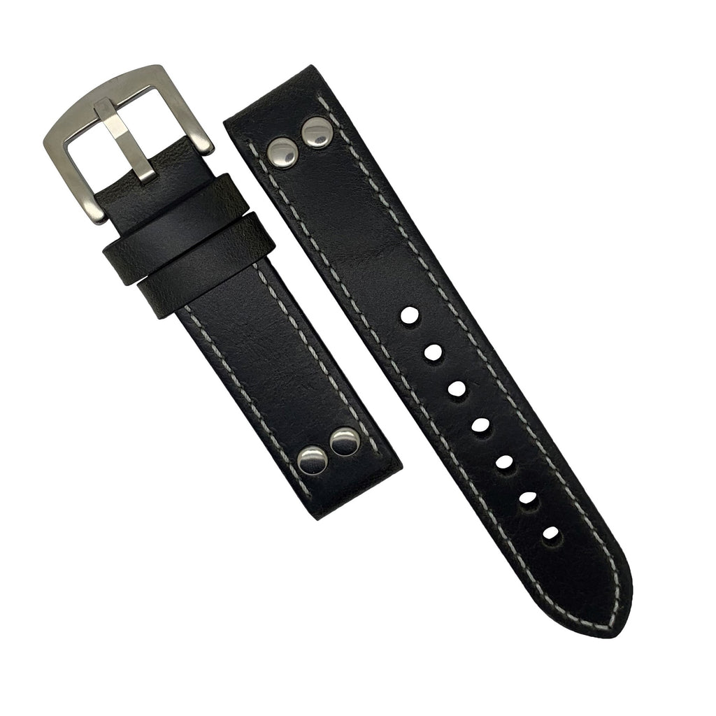 Premium Pilot Oil Waxed Leather Watch Strap in Black with Silver Buckle (22mm)