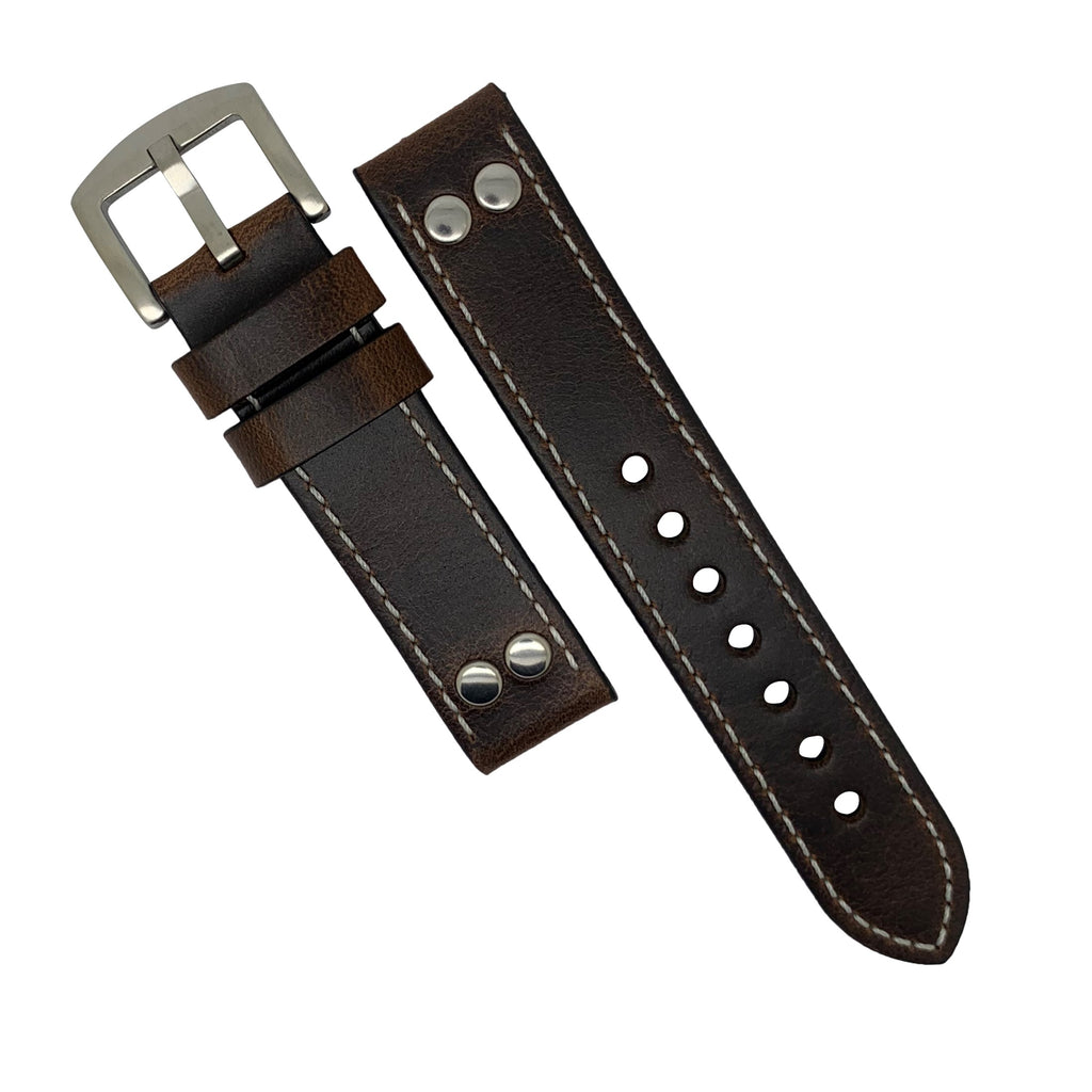Premium Pilot Oil Waxed Leather Watch Strap in Brown with Silver Buckle (22mm)