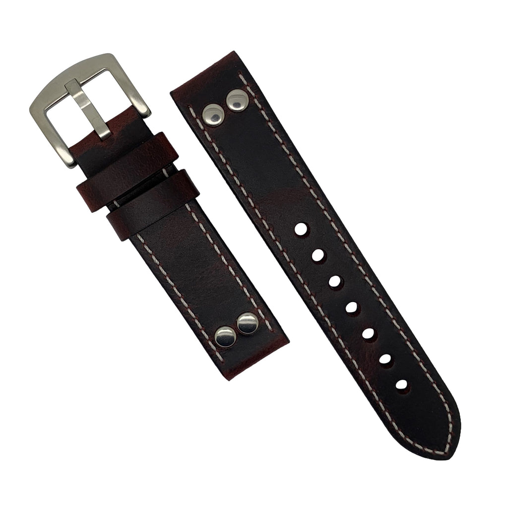 Premium Pilot Oil Waxed Leather Watch Strap in Maroon with Silver Buckle (22mm)