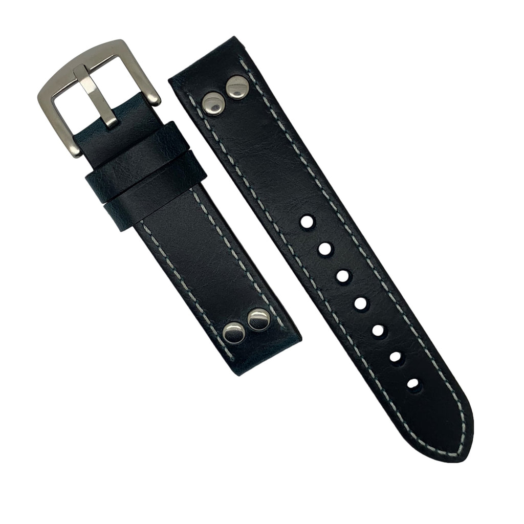 Premium Pilot Oil Waxed Leather Watch Strap in Navy (22mm) - Nomad watch Works