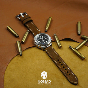 M1 Vintage Leather Watch Strap in Brown with Pre-V Silver Buckle (26mm) - Nomad watch Works