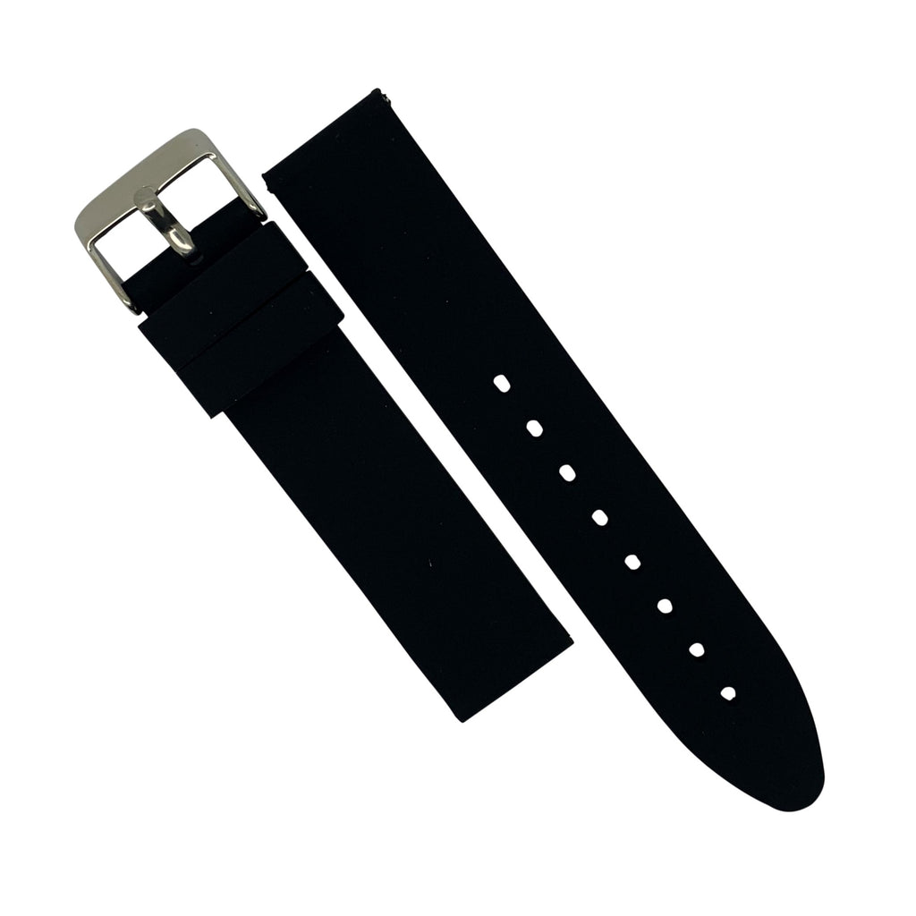 Basic Rubber Strap in Black with Silver Buckle (20mm) - Nomad watch Works