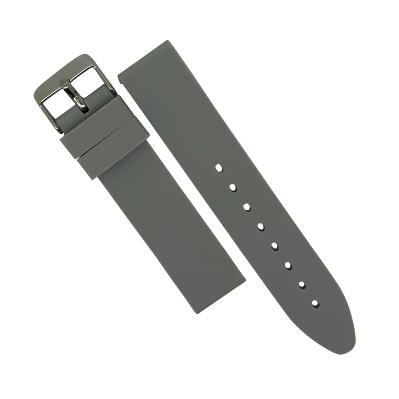 Basic Rubber Strap in Grey with Silver Buckle (20mm) - Nomad watch Works