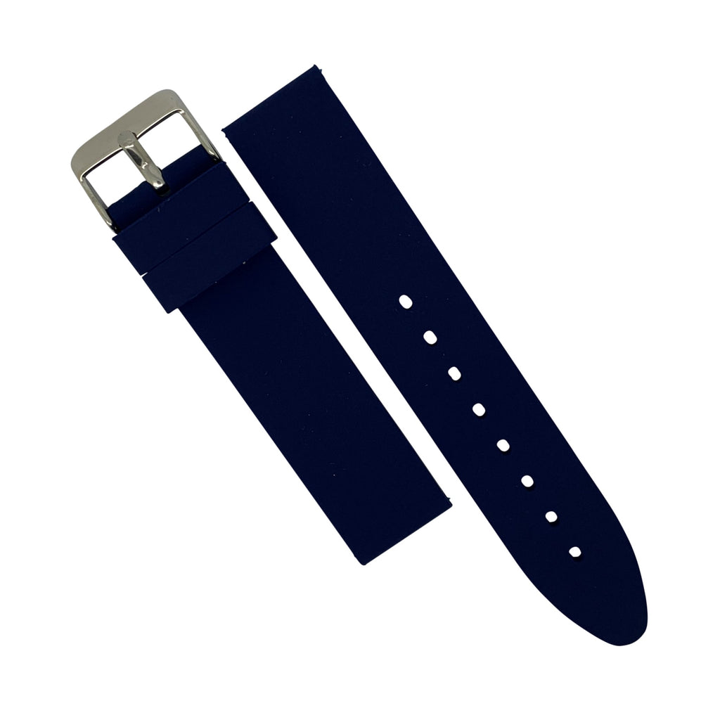 Basic Rubber Strap in Navy with Silver Buckle (18mm) - Nomad watch Works