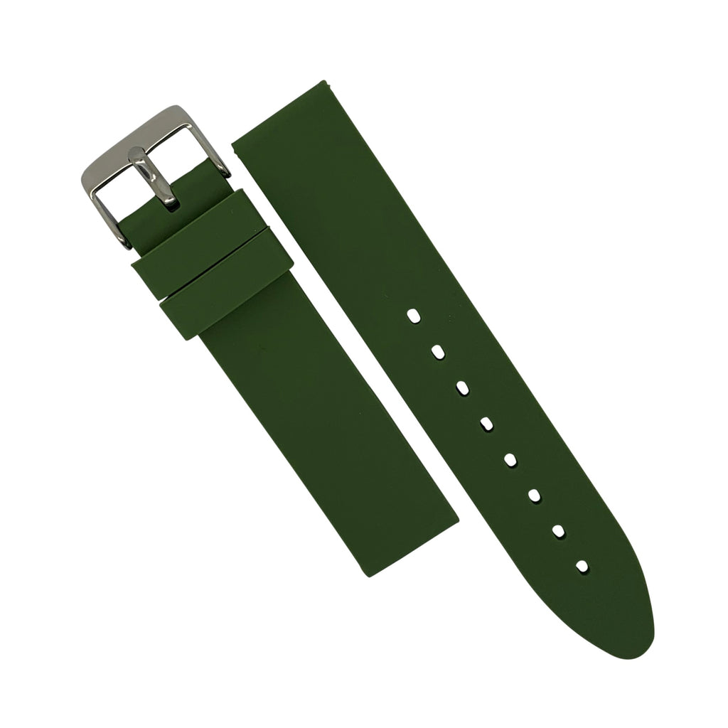 Basic Rubber Strap in Olive with Silver Buckle (22mm) - Nomad watch Works