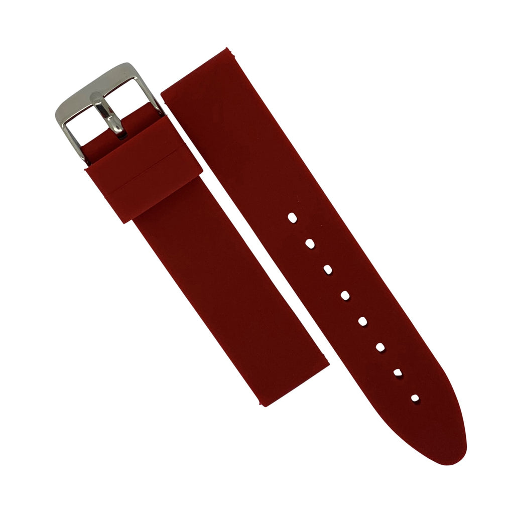 Basic Rubber Strap in Red with Silver Buckle (20mm) - Nomad watch Works