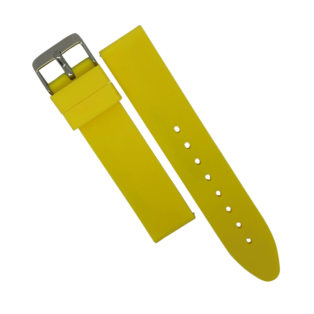 Basic Rubber Strap in Yellow with Silver Buckle (20mm) - Nomad watch Works