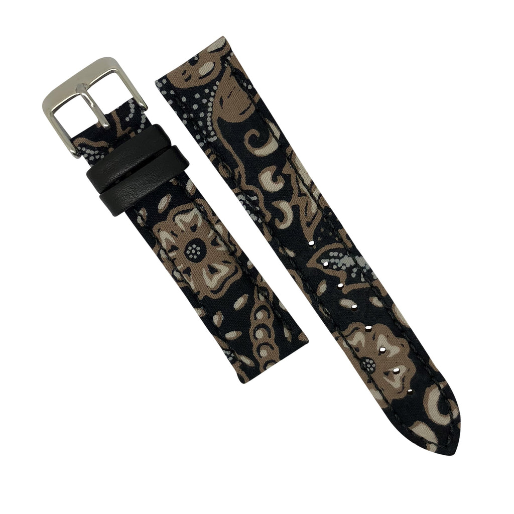 Batik Watch Strap in Sogan Black with Silver Buckle (18mm) - Nomadstore Singapore